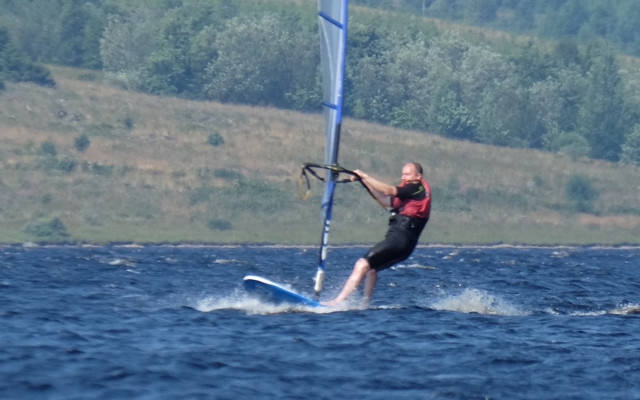 The Chief Windsurfing Instructor in action.